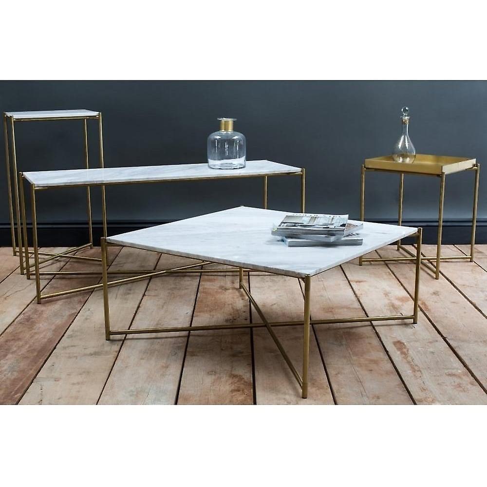 Gillmore White Marble Grande Console Table Avec Base De la Croix de Laiton