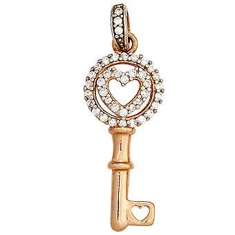 السيدات قلادة مفتاح 925 الاسترليني الفضة الروديوم مطلي الذهب ثنائي الألوان مطلية بالزركونيا مكعب