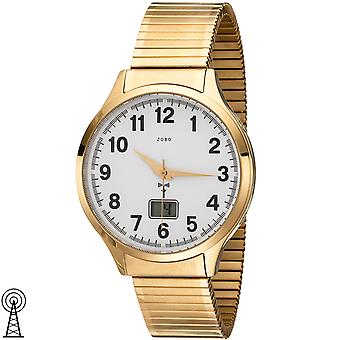 JOBO men's wristwatch radio radio clock stainless steel gold plated cable date