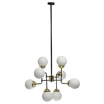 Glasberg - Noir et antique Brass Eight Light Pendant Avec Verre Blanc 605011108