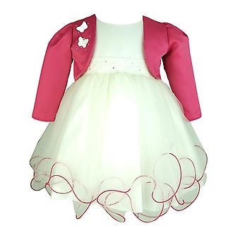 Frazer & James Baby Girls Ivory Dress mit Fuchsia Butterfly Bolero Jacket