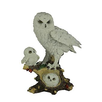 Owl Little Family Mother Snowy Owl and Owlets Wildlife Statue