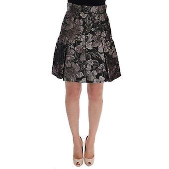 Дольче & Gabbana черный серебристый парча Цветочная юбка--SKI1780912