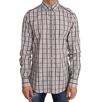 Dolce & Gabbana Pink White Check Cotton Slim Fit Shirt