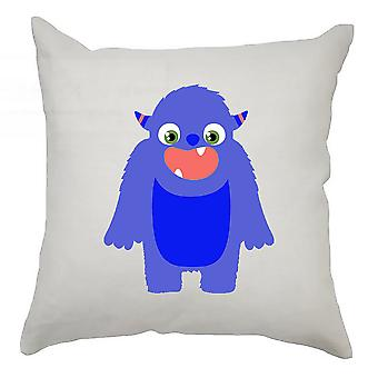 Monster Cushion Cover 40cm x 40cm - Dark Blue Monster With Horns