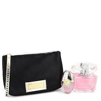 Presente de cristal brilhante definido por Versace 3 oz Eau De Toilette Spray + 0,3 oz Mini EDT Spray + Bolsa preta e dourada