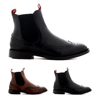 Mens H By Hudson Breslin Calf Leather Brogue Smart Work Chelsea Boots