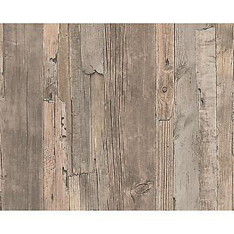 A.S. Creation AS Creation Distressed Driftwood Wood Panel Faux Effect Embossed Light Brown Wallpaper