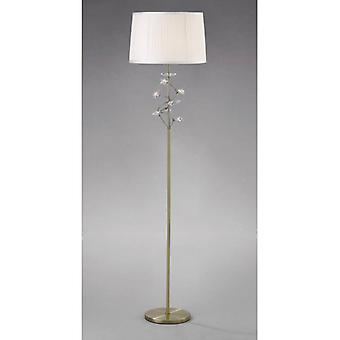 Willow Floor Lamp With White Lampshade 1 Bulb Antique Brass / Crystal