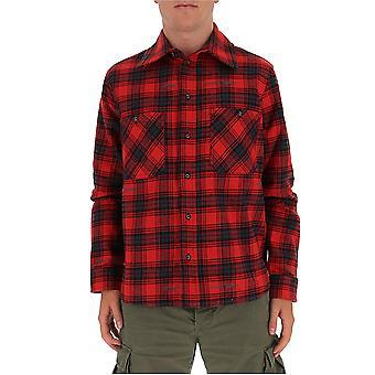 Off-white Omga133e20fab0012510 Mænd's Sort/rød Bomuldsskjorte