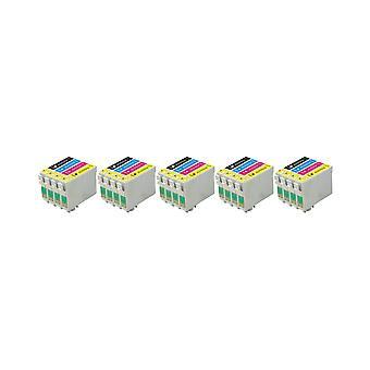 RudyTwos 5 x ersättning för Epson Fox bläck enhet svart Cyan gul & Magenta (4 Pack) kompatibel med S22 SX125, SX130, SX230, SX235W, SX420W, SX425W, SX430W, SX435W, SX438W, SX440W, SX445W, SX445WE, O