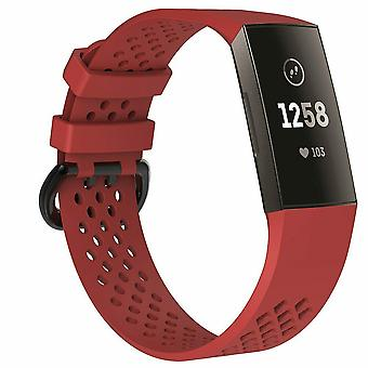 "Replacement Strap Silicone Band Bracelet Wristband for Fitbit Charge 3[Large Fits Wrist 7.1"" - 8.7"",Red]"