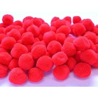 100 Rood 25mm of 1in Craft Pom Poms