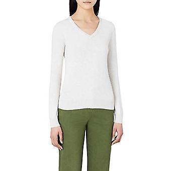MERAKI Women's Cotton V Neck Sweater, Bege (Linho), EU L (US 10)