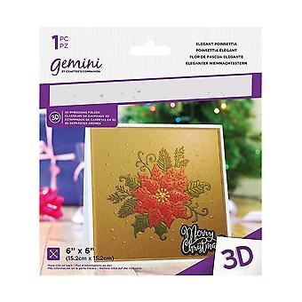 Gemini Elegant Poinsettia 3D Embossing Folder