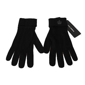 Dolce & Gabbana Black 100% Cashmere Knitted Crown Logo Gloves -- LB25876848