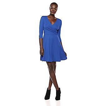 Märke - Lark & Ro Women&s Three Quarter Sleeve Faux Wrap Fit and Flare Dress, Kobolt, X-Large