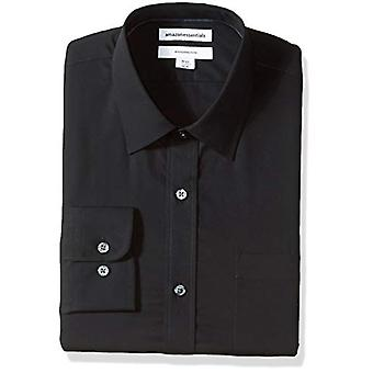 "Essentials Menn's Slim-Fit Rynke-Resistent Langermet Skjorte, Svart, 17.5"" Hals 32""-33"""