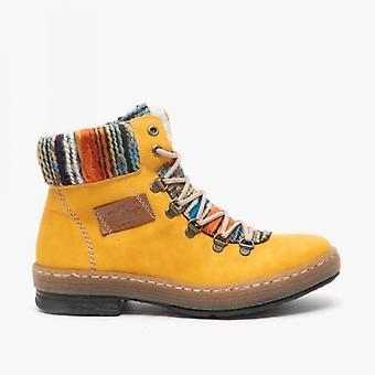 ريكر Z6743-68 السيدات عارضة الكاحل أحذية الأصفر
