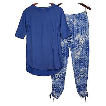 Cuddl Duds Women's Regular Pajama Set Short Cropped Purple A346880