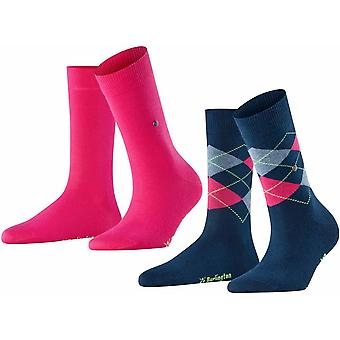 Burlington Everyday Mix 2-Pack Socks - Marine Navy/Gloss Pink