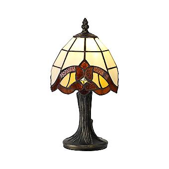 Tiffany Table Lamp, 1 x E14, Amber, Clear Crystal Shade
