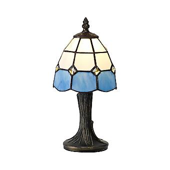 Tiffany Table Lamp, 1 x E14, White, Blue, Clear Crystal Shade