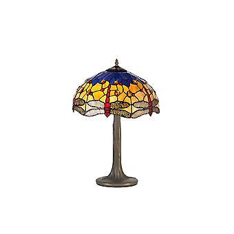 2 Albero leggero come lampada da tavolo E27 con 40cm Tiffany Shade, Blu, Arancione, Cristallo, Ottone Antico Invecchiato