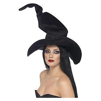 Womens Black Velour Witch's Hat Tall i Twisty Halloween Fancy Dress