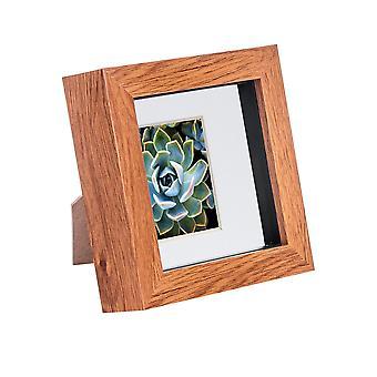 Nicola Spring 4 x 4 3D Shadow Box Photo Frame - Craft Display Picture Frame - Glazen Diafragma - Donker hout