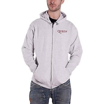 Queen Hoodie Classic Crest Band Logo new Official Mens Ash Grey Zipped