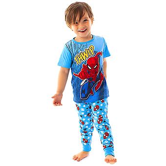 Marvel Spider-Man Pyjamas Comic Kids Boy's Blue Long PJ Nightwear