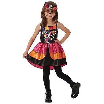 Sugar Skull Day Of The Dead Senorita Spaanse Mexicaanse Halloween Girls Kostuum