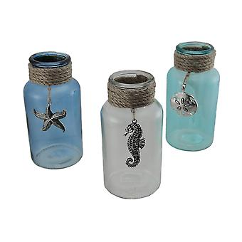 Blue Green and Clear 3 Piece Rope Wrapped Coastal Glass Vase Set