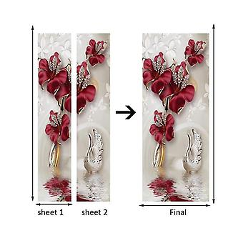 Red Flower, Butterfly Jewelry 3d - Modern Living Room, Bedroom Door Decoration
