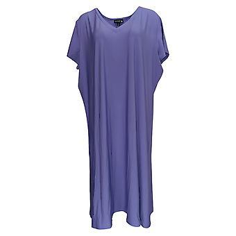 Antthony Plus Dress Jersey Knit Double V-Neck A-Line Midi Purple 695-066