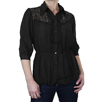 Women's Summer Crochet Lace Ruffle Peasant Top Ladies Casual Frill Elasticated Waist Button Down Blouse Shirt 8-18