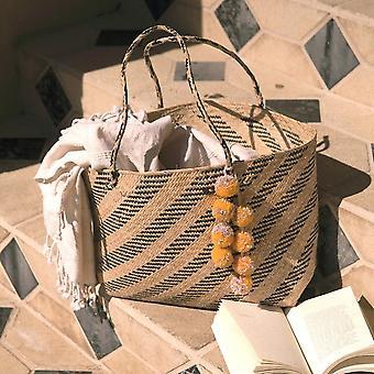 Borneo Sani Streifen Stroh Einkaufstasche - mit Pom-Poms