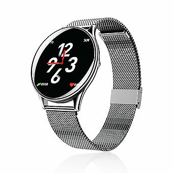 AQ137 Runder Bildschirm Smart Watch kompatibel mit iOS & Android Fitness Tracker, Silber
