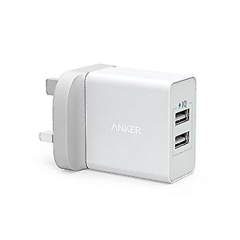 Anker usb charger 4.8a/24w 2-port usb wall charger and poweriq technology for iphone xs/xs max/xr/x