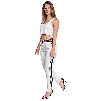 Womens Poptrash Trousers Loose Track Pants Relaxed Treggings Pants Leopard Print
