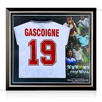 بول غاسكوين وقع انكلترا 1990 قميص. إطار ممتاز