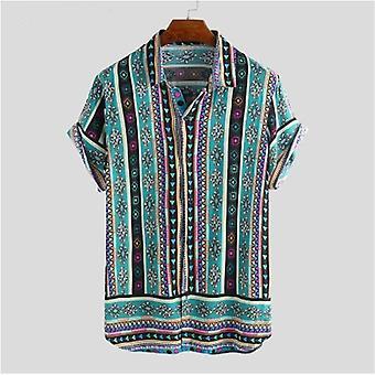 الرجال العرقية نمط طباعة الرجال عارضة Lapel الرقبة Streetwear قميص قصير الأكمام