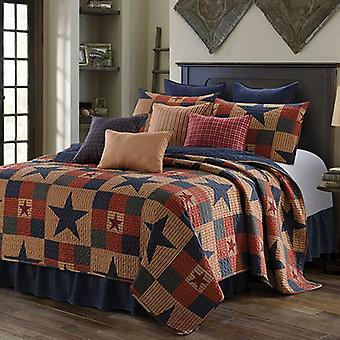 Spura Home 3-Piece Bedspread Mountain Polyester Cabin Blue Quilt Set