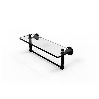 Waverly Place Estante de tocador de vidrio de 16 pulgadas con barra de toalla integrada - Wp-1Tb/16-Bkm