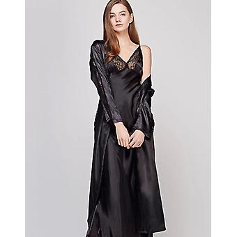 Autumn New Hollow Out Long Section Women Robe Set Lace Sexy Spaghetti Strap