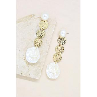 Cream And Gold Earrings