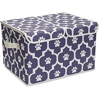 Brabtod Large Dog Toys Storage Box Canvas Storage Basket Bin Organizer with Lid