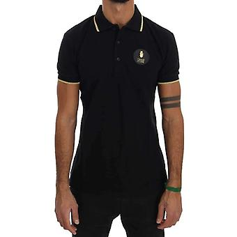 Cavalli Black Cotton Short Sleeve Polo T-Shirt
