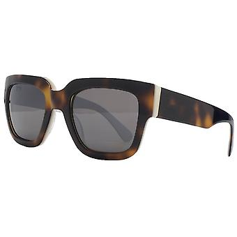 French Connection Premium Flat Top Rectangle Sunglasses - Black/Brown Tort